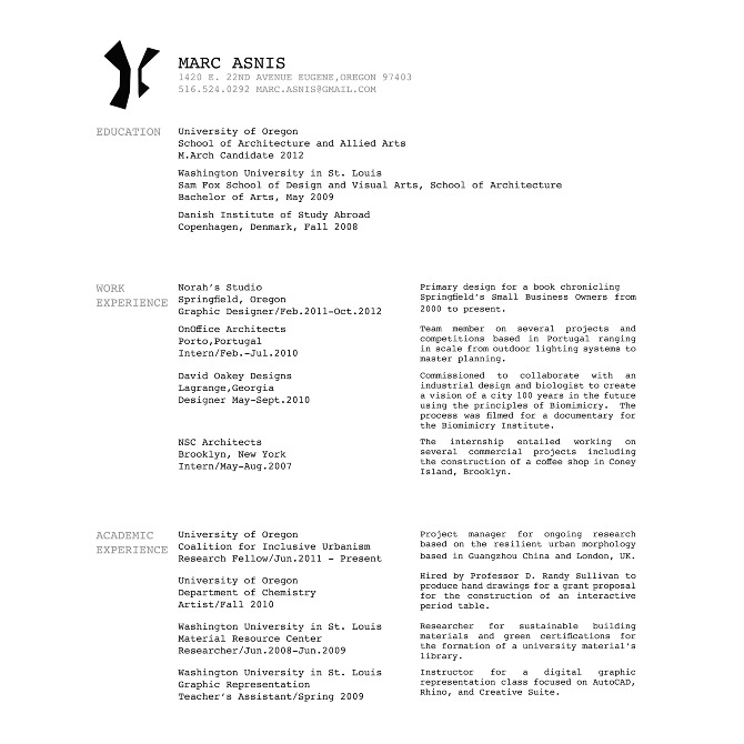 mla format resume